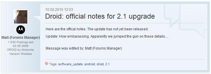 Bild 1 des Forumeintrags des Forum Managers von Motorola